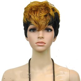 Wholesale Short Blonde Party Wig - Most Popular Stylish Short Straight Colorful (black and blonde ) Synthetic Hair Cosplay Wig  Party Wigs 12 inches Long