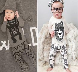 Wholesale Bowtie Cartoon Baby - autumn children's clothing suits long-sleeved Cute Cartoon Bowtie Bear Baby Girls Boys Outfits Set Boy Cotton Tops Harem Pants 2pcs Suit 100