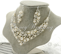 Wholesale Ivory Pearl Sets - Fashion Wedding Party Bridal Ivory Imitation Pearl Rhinestone Crystal Necklace Earrings Set Jewelry Prom