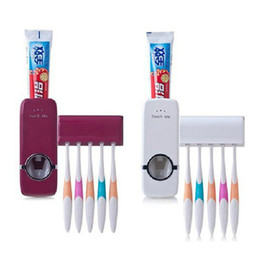 Wholesale Tooth Brush Toothpaste Holder - 1PC Creative Automatic Toothpaste Dispenser Tooth Brush Holder Set Toothbrush Family Sets 2 Color White,Burgundy,dandys