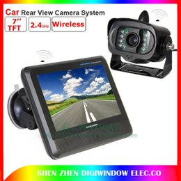 Wholesale Car Roof Lcd Screen - 2.4GHZ Wireless car rearview camera Night Vision view angle cameras with 7inch LCD color Screen Monitor (D407) free shipping