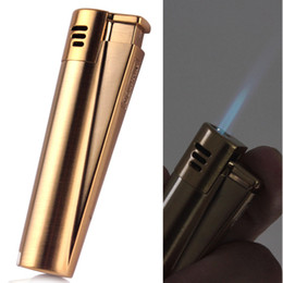Wholesale Slim Butane Lighter - Firedog Slim Dolphin Metal Jet Blue Flame Cigarette Cigar Refillable Butane Gas Lighter