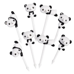 Wholesale Decoration Fruit Fork - 8pc pack Cute panda Fruit Forks Mini Cartoon Children Snack Cake Dessert Food Fruit Pick Bento Lunches Party Decoration