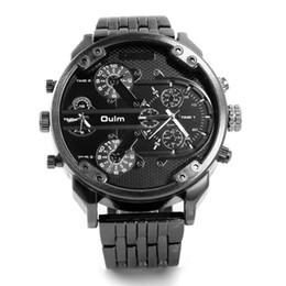 Wholesale Big Face Mens Sports Watches - OULM 3548 Mens 5.5cm Big Face Watches 2 Time Zone Casual Quartz Watch Montre Homme de Marque Grande
