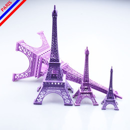 Wholesale Eiffel Tower Centerpieces Wholesale - Wedding centerpieces table centerpiece 3D Purple Paris Eiffel Tower Model Home Metal Craft Ornament Wedding Decoration Supplies