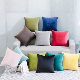 "Wholesale Fabric Covered Cushions - Thorw pillow cover Durable Soft Velvet Pure color European style Square shape latest design Hidden zipper pillow cushions home decor 18""*18"""