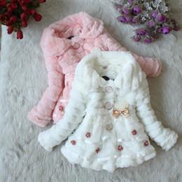 Wholesale Kids White Faux Fur Coats - 2014 spring autumn winter children coat kids fashion clothing girls lapel pearl Bow flowers Faux fur coat A4903