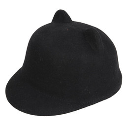 Wholesale Devil Horns Hats - Wholesale-2015 New Fashion Wool Women's Sun Hat Winter Mickey Cat ear animal equestrian panda ears fedora Cap with Devil Horns Ear