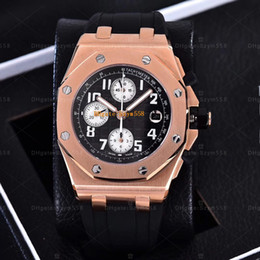 Wholesale Sapphire Royal - Royal 26170TI 7750 Chronograph Watch Automatic Rubber strap AAA Best Quality Black Face Man Watch 42mm Sec@9 Waterproof Stainless steel