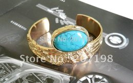 Wholesale Arty Rings - Wholesale-Women Gold Brand Bracelet Real Big Stone Embed Gold Arty Cuff Bangle 4 Colors High Quality European Style Have Same Finger Rings