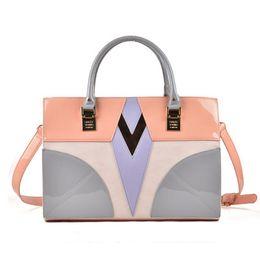 Wholesale Designer Handbag Painted - 2017 New luxury Handbags Woman Paint Leather Top-handle Tote Socialite Brand Designer Zipper Patchwork Stereotypes Shoulder Bags