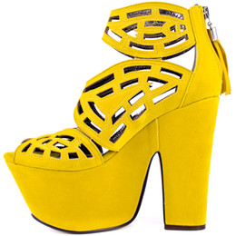 Wholesale Chunky Heel Platform Pump Design - Yellow Cut Out Sandals Womens Shoes High Heels Coppy Leather Platform Summer Women Shoes Pumps New Design Girls Shoe Square Heel 15cm Clutch
