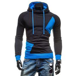 Wholesale Hooded Drawstring Jacket - Men's Spring & Autumn Hoodies Fashion Casual Slim Plus Sizes Patchwork Pullovers Drawstring Cap Creed Hoodies Sweatshirt Outerwear Jackets