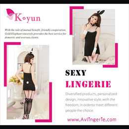 Wholesale Sexy Bunny Lingerie Cosplay - Wholesale-Free shipping sexy lingerie Top quality black costumes with lovely bunny ears cosplay uniform for women KUB0-001