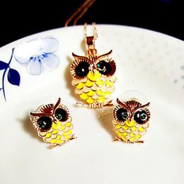 Wholesale Enamel Rhinestone Owl - NEOGLORY JEWELRY owl necklace earrings set party prom Jewelry set RIhood Jewelry
