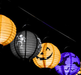Wholesale Halloween Pumpkin Lantern - Fashion Hot Halloween LED Paper Pumpkin Ghost Hanging Lantern Light Holiday Party Decor