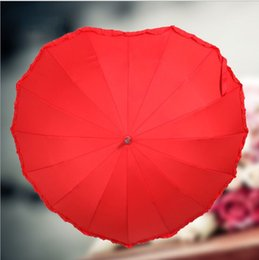 Wholesale Wedding Red Parasol Umbrella - Red Wedding Bridal Personal Umberlla Cordiform Heart-shaped Long Handle Wedding Umbrella