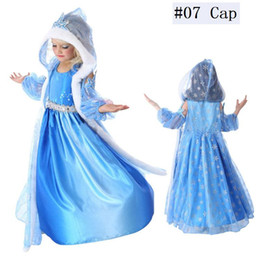 Wholesale Yellow Cape Costume - Children Baby Snow Queen Costume Anime Cosplay Dress Princess Dresses With Hooded Cape Blue Fur Cape Dress Ready Stock