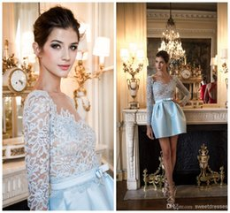 Wholesale real picture zuhair murad - Zuhair Murad Cocktail Dresses 2015 Blue Lace with Stain Long Sleeve Short Party Dress V Neck Cheap Homecoming Gowns A Line Mini Length