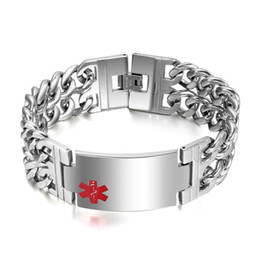 Wholesale Stainless Steel Cowboy Bracelet - Heavy High Quality 93g Men's Silver Stainless Steel ID Identification With Red Medical Logo Wide 23mm Bracelet Two-row Cowboy Chain 9.25''