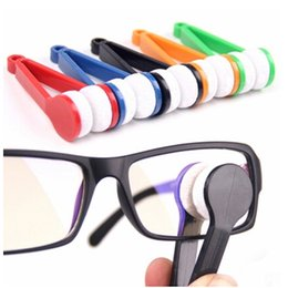 Wholesale Microfiber Glass Cleaning - 10pcs New Mini Portable Glasses Eyeglass Sunglasses Microfiber Cleaner Wash Brush Household Products Glass Cleaner Free shipping