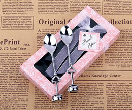 Argentina 2 estilos 14 * 6.7 * 2.5 cm 2 in1 Teatime Wedding Favors Love Beyond Measure Cucharas de medir de corazón en regalo / cuchara de café Suministro