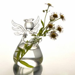 Wholesale Hydroponic Glass Vases - Hot New Cute Clear Glass Angel Shape Flower Plant Stand Hanging Vase Hydroponic Home Office Wedding Decor Free Shipping