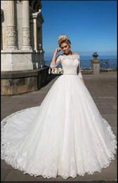 Wholesale Tulle Wedding Gowns Color Belt - Modest Half Sleeve Bateau Neckline A-Line Wedding Dresses 2018 Appliques Lace Beaded Belt Vestios De Novia Arabic Bridal Gowns Ball