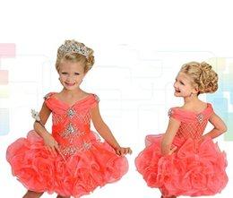 Wholesale Shining Light Flowers - Shining Crystal Beaded Pageant Dresses V-Neck Sleeveless Ritzee Girls Ball Gowns Mini Short Flower Girl Dress For Wedding