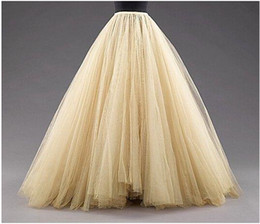 Wholesale Cheap White Tutu Skirt - Long Skirts A Line Layered Tulle Tutu Skirts Floor Length Custom Made Size Plus Size Party Prom Adult Wear Spring Autumn Cheap Dress