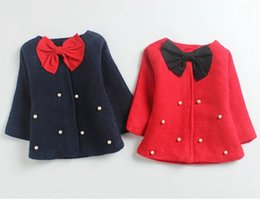 Wholesale Toddlers Trench Coats - girls fall winter coats baby girl big bows outwear kids christmas clothes infant toddler fashion trench childrens coats wholesale clothing 4