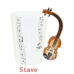 Wholesale Novelty Mug Gift - Free Shipping 48 pcs lot New Creative Violin Music Mug Ceramic Mug Coffee Cup novelty gift