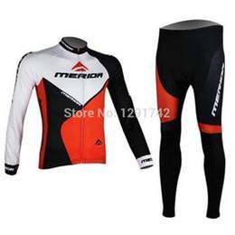 Wholesale Merida Hot - cycling jersey set hot sale merida men cycling Jersey suits in winter fall with long sleeve bike jacket & (bib) pants in cycling clothing