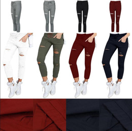 Wholesale Green Lace Tights - Women Skinny Ripped Holes Jeans High Waist Punk Pants Skinny Slim Tight Lace Up Gothic Leggings Trousers 100pcs OOA3459