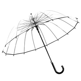 Wholesale Transparent Fabric Wholesale - Transparent Umbrellas Sunny Rainy Day Lady Semi Automatic Long Handle Umbrella For Rain Proof Outdoor Supplies Portable 16hj C