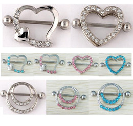Wholesale Stainless Steel Body Piercing - Nipple Shield Rings Barbells Body Jewelry Love Heart Double Circles Nipple Rings Sexy Woman Piercing Jewelry Piercing Clip On Nipple