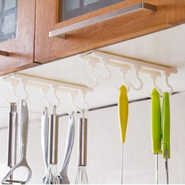 Wholesale Plastic Rod Stock - Wholesale- Practical Kitchen cabinets ceiling hook with 6 hooks Desk Cupboards Hanging Rack rod wall hook organizer Kitchen Accessories