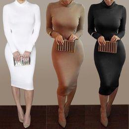Wholesale Mid Calf Black Sexy Dresses - 2016 New women dress sexy club party dress fashion long sleeve bodycon dresses hot sale bandage dresses Vestidos