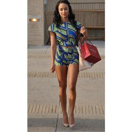 Wholesale Women Cropped - 2016 Summer Style New Women Two Piece Crop Top Shorts Set African print Jumpsuit Free Shipping 364
