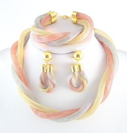 Wholesale Mysterious Tibet - Fashion 18k Gold Plated Mysterious Charming Necklace Romantic Bridal Jewelry Set