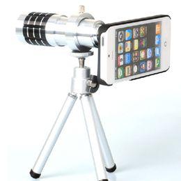 Wholesale Iphone5 Telescope Camera - iphone5 5S 12X Optical Zoom Telescope Camera Lens+mini Tripod +Back Case Cover Phone 12X Zoom Lens
