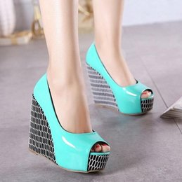 Wholesale Spring Color Wedge Heels - Sexy color block platform wedge shoes peep toe high heel sandals for women spring summer size 34 to 39