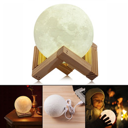 Wholesale Christmas Gift Cups - Rechargeable 3D Print Moon Lamp 2 Color Change Touch Switch Bedroom Bookcase Night Light Home Decor Creative Gift