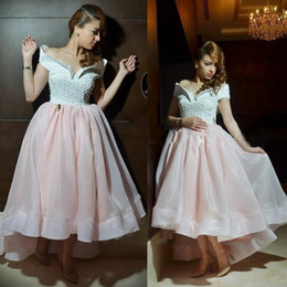 Wholesale High Low Sparkling Prom Dresses - High Low Prom Dresses 2015 A Line Off-the-Shoulder Short Sleeve Beaded Pearle Sparkle Pink And White Formal Evening Party Gowns