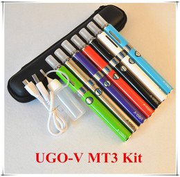 Wholesale Mini Passthrough Ego - UGO V E Cigarette eVod MT3 Micro USB Passthrough Batteries eGo Starter Kits Mini Case 650mah 900mah Multi Color Atomizer 2.4ml Tank