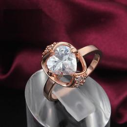 Wholesale Heart Bezel Gemstones - Hot 18K Rose Gold Plated Heart Austrian Crystal Champagne Gemstone Erstwhile Memory Design Lady Ring Wholesale