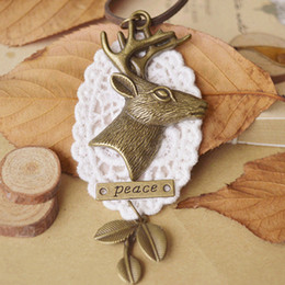 Wholesale Deer Oval - Antique Brass Deer Antler Letter Peace Oval White Lace Necklace Long Large Sweater Necklaces New Trendy Christmas Jewelry nxl039