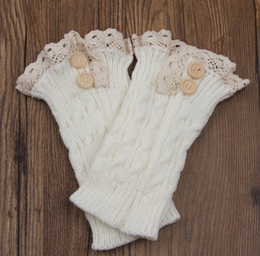 Wholesale womens boot cuffs - Wholesale-5pairs lot NewFashion double button twist boot cuff short leg warmer womens boot socks knitted lace trim boot cuffs