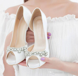 Wholesale Girls Wedding Shoes Ivory - Free shipping New Sexy Luxury Handmade Ivory Rhinestone Wedding Shoes High Heels Bridal Shoes Peep Toe Girl Party Dress Shoes