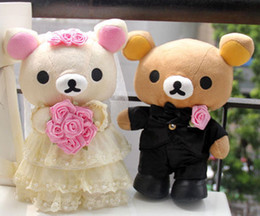 Wholesale Teddy Bears Dresses - Wholesale HOT Couple Dress Huaband Wife Rilakkuma Bear Wedding Marriage Dolls Toy gifts 10inch